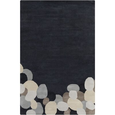 Willa Hand Tufted Wool Dark Gray/Black Area Rug Rug Size: 5 x 76