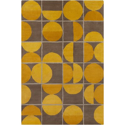 Willa Hand Tufted Wool Brown/Yellow Area Rug Rug Size: 5 x 76