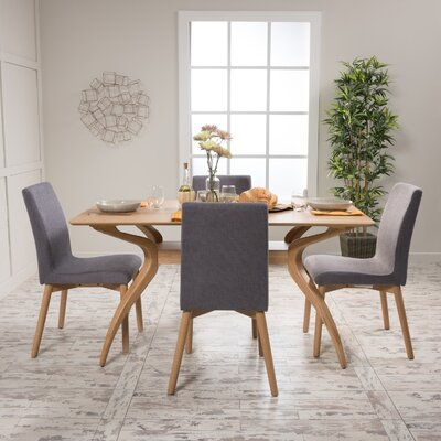 Dougal 5 Piece Dining Set Table Finish: Natural Oak, Chair Finish: Light Beige
