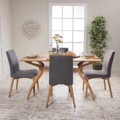 Dougal 5 Piece Dining Set Table Finish: Natural Oak, Chair Finish: Dark Gray