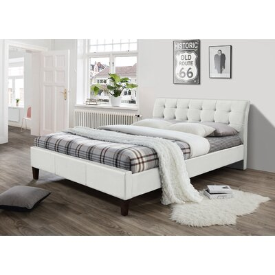 Chandler Upholstered Platform Bed Size: Queen, Color: White
