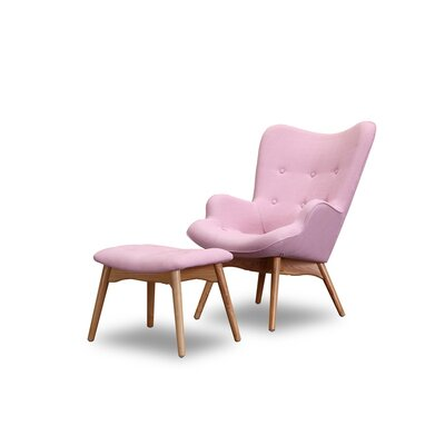Ali Mid Century Wingback Chair and Ottoman Color: Pink