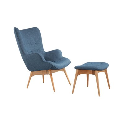 Ali Mid Century Wingback Chair and Ottoman Color: Blue