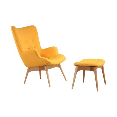 Ali Mid Century Arm Chair and Ottoman Color: Yellow