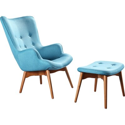 Ali Mid Century Arm Chair and Ottoman Color: Light Blue