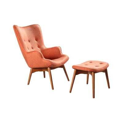 Ali Mid Century Wingback Chair and Ottoman Color: Peach