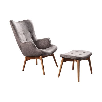 Ali Mid Century Wingback Chair and Ottoman Upholstery: Taupe