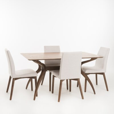 Dougal 5 Piece Dining Set Table Finish: Natural Walnut, Chair Finish: Light Beige