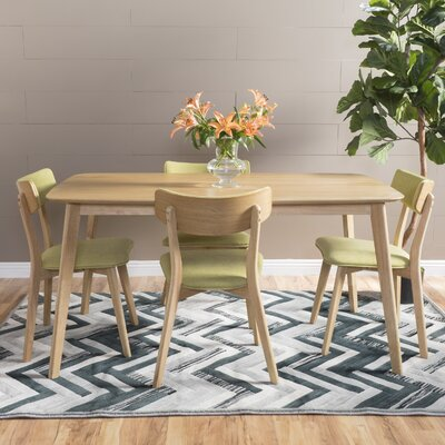 McQueen 5 Piece Dining Set Table Finish: Natural Oak, Chair Finish: Green Tea