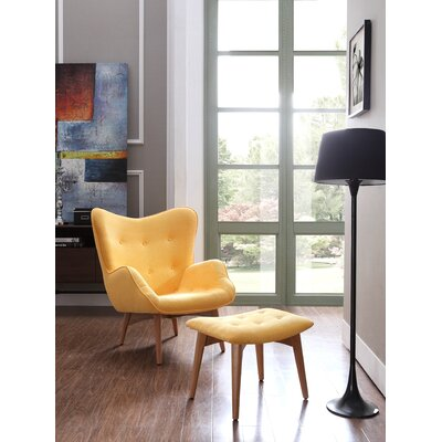 Kareem Lounge Chair and Ottoman Color: Yellow