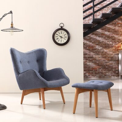 Kareem Lounge Chair and Ottoman Upholstery: Blue