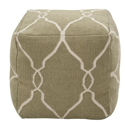 Corona Pouf Color: Ivory / Dark Chocolate