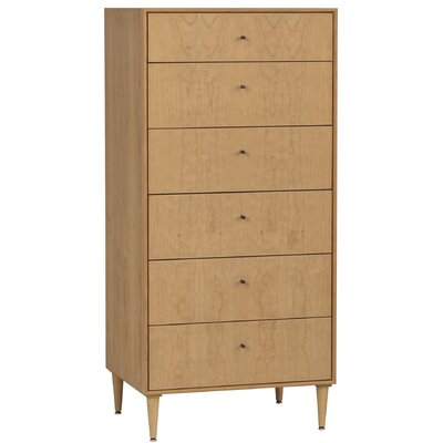 Bounds 6 Drawer Chest Wood Veneer: Maple, Color: Slate