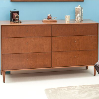 Bounds 6 Drawer Dresser Wood Veneer: Walnut, Color: Bleached