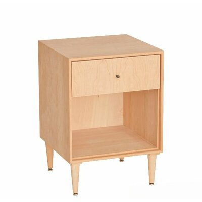 Bounds 1 Drawer Nightstand Wood Veneer: Walnut, Color: Clear