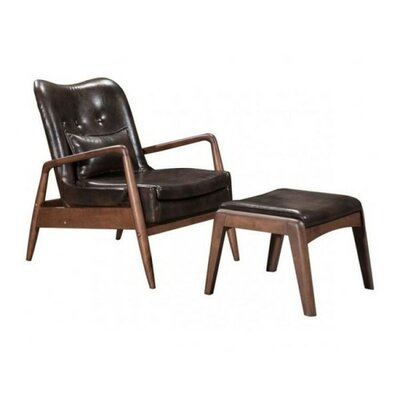 Marlowe Lounge Chair and Ottoman Color: Brown