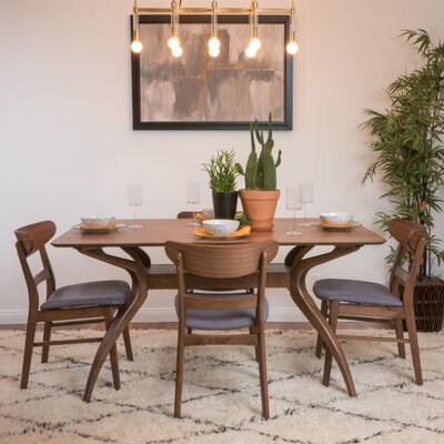 Yolanda 5 Piece Rectangular Dining Set Table Finish: Natural Walnut, Chair Finish: Dark Gray
