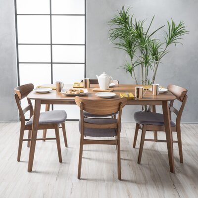 Yolanda 5 Piece Rubberwood Dining Set Finish: Walnut