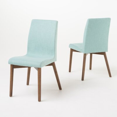 Edgware Side Chair Upholstery: Mint, Finish: Walnut