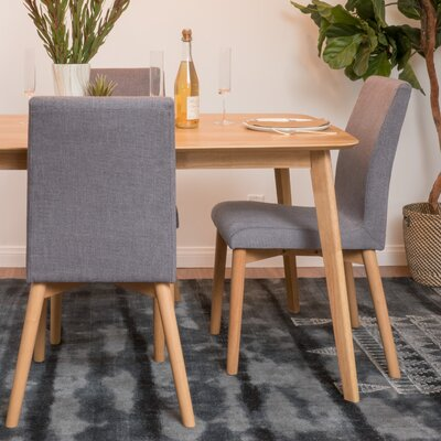 Edgware Side Chair Upholstery: Dark Gray, Finish: Oak