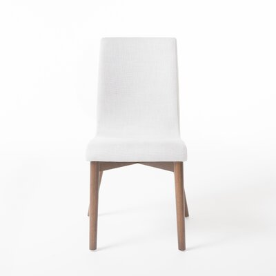 Edgware Side Chair Upholstery: Light Beige, Finish: Walnut