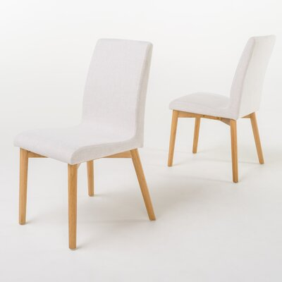 Edgware Side Chair Upholstery: Light Beige, Finish: Oak