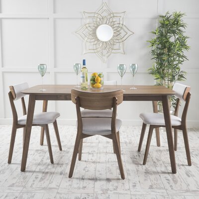 McQueen 5 Piece Dining Set Table Finish: Natural Walnut, Chair Finish: Light Beige