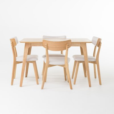 McQueen 5 Piece Dining Set Table Finish: Natural Oak, Chair Finish: Light Beige
