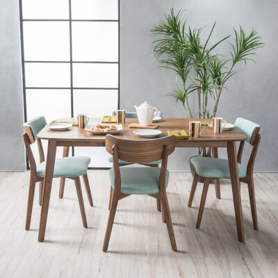 McQueen 5 Piece Dining Set Table Finish: Natural Walnut, Chair Finish: Mint