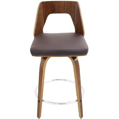 Emory 24 Swivel Bar Stool Upholstery: Brown