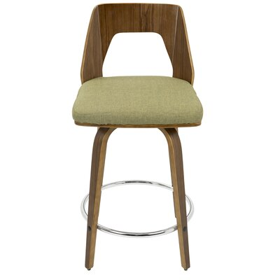 Emory 24 Swivel Bar Stool Upholstery: Green