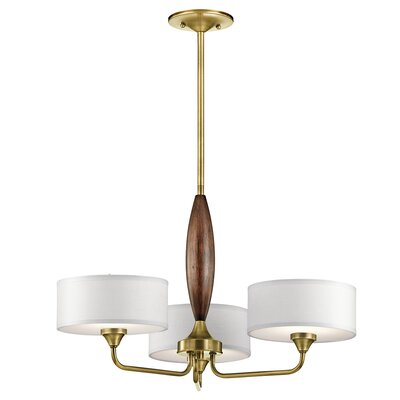 Euston 3-Light Drum Chandelier Finish: Natural Brass