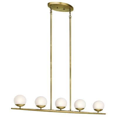Mahaffey 5-Light Kitchen Island Pendant Finish: Natural Brass
