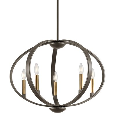 Zachary 5-Light Candle-Style Chandelier Finish: Old Bronze
