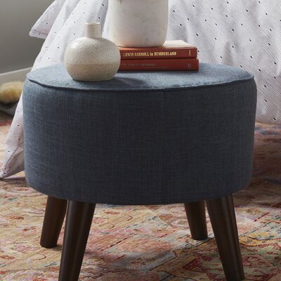 Hogan Round Ottoman with Splayed Legs Upholstery Color: Navy