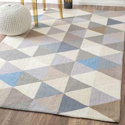 Arvada Anderson Hand-Hooked Gray/Beige Area Rug Rug Size: Rectangle 5 x 8