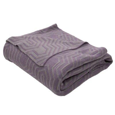 Drumanaway Handloom Modern Cotton Throw Blanket Color: Gray / Purple