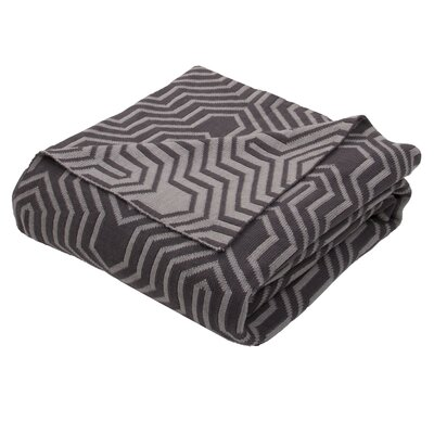 Drumanaway Handloom Modern Cotton Throw Blanket Color: Gray / Black