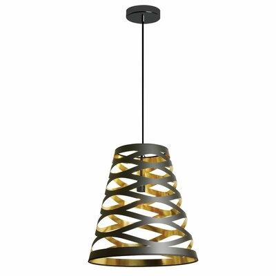 Sandon 1-Light Mini Pendant Shade Color: Black/Gold, Size: Small