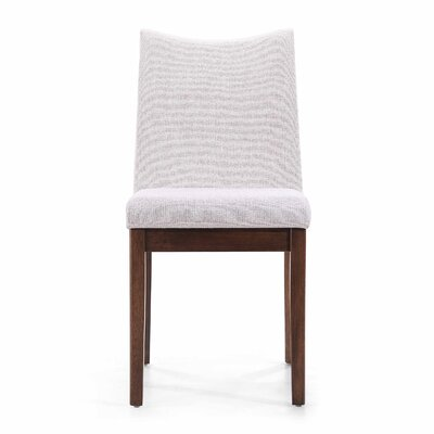 Calhame Side Chairs Upholstery: Light Beige, Finish: Walnut