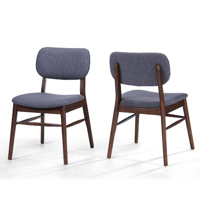 Drumadried Side Chair Upholstery: Charcoal, Finish: Walnut