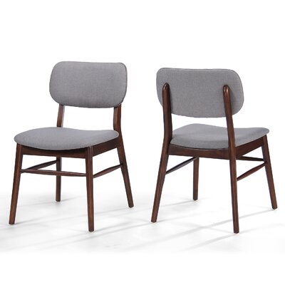 Drumadried Side Chair Upholstery: Beige Gray, Finish: Walnut