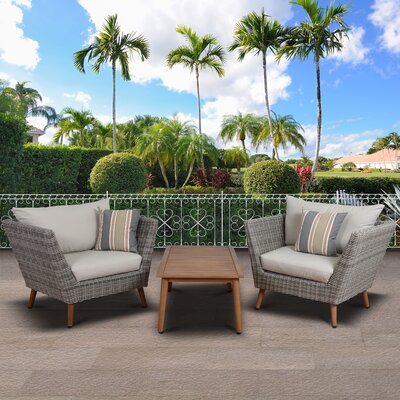 Newbury Patio 3 Piece Deep Seating Group with Cushion