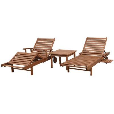 Braxton 3-Piece Patio Eucalyptus Chaise Lounge Set