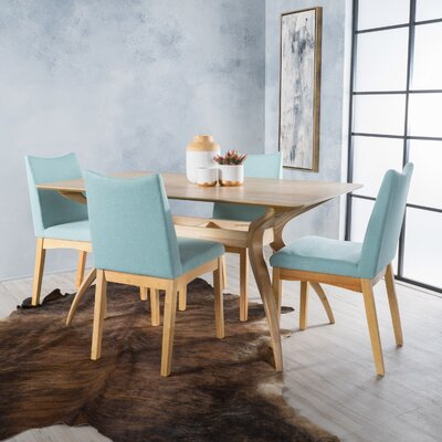 Aliso 5 Piece Dining Set Chair Color: Mint, Finish: Oak