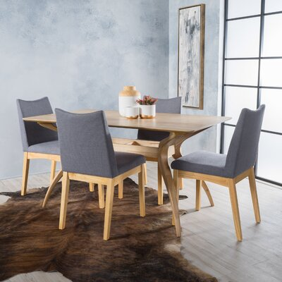 Aliso 5 Piece Dining Set Chair Color: Light Beige, Finish: Walnut