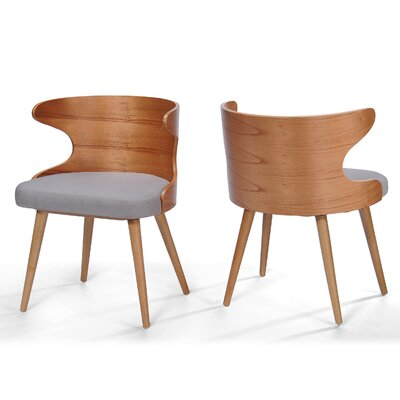 Allesandro Side Chair Upholstery : Light Gray, Finish: Walnut