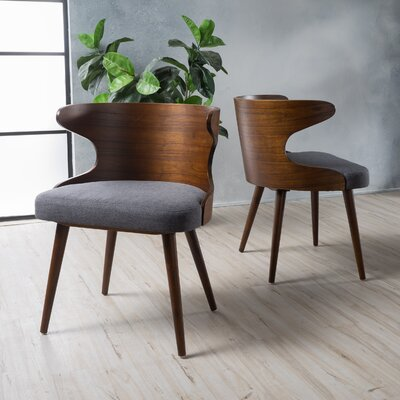 Allesandro Side Chair Upholstery : Charcoal, Finish: Walnut