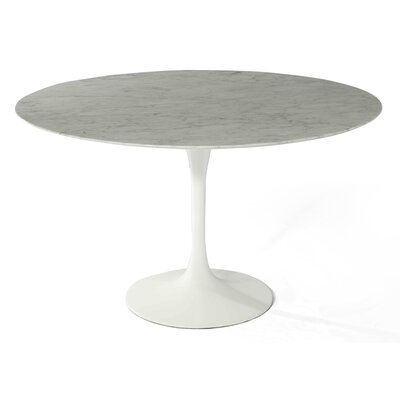Angelica Marble Dining Table Size: 28.25 inch H x 40 inch W x 40 inch D, Base Finish: White Matte