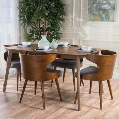 Camille 5 Piece Walnut Mid Century Dining Set Upholstery Color: Charcoal